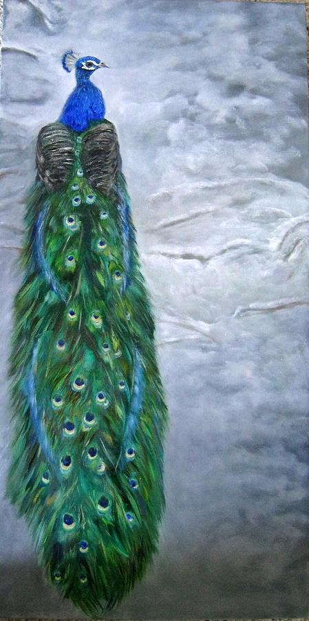 Peacock Painting - Peacock In Winter by LaVonne Hand