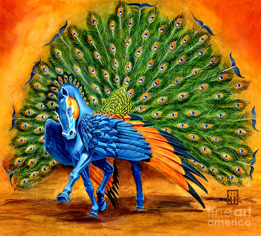 Horse Painting - Peacock Pegasus by Melissa A Benson
