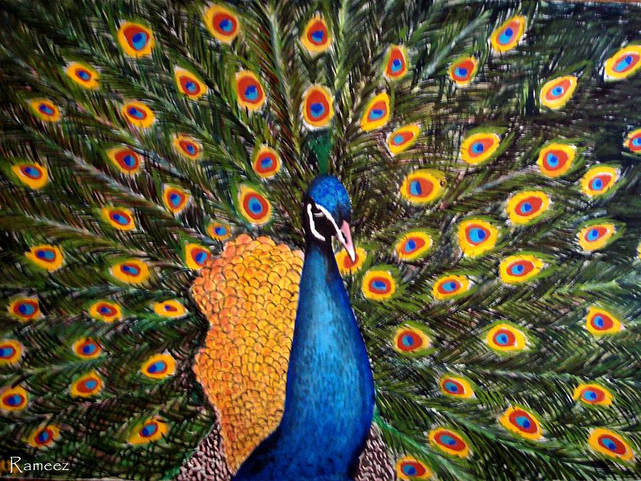 Peacock Painting by Rameez Haider