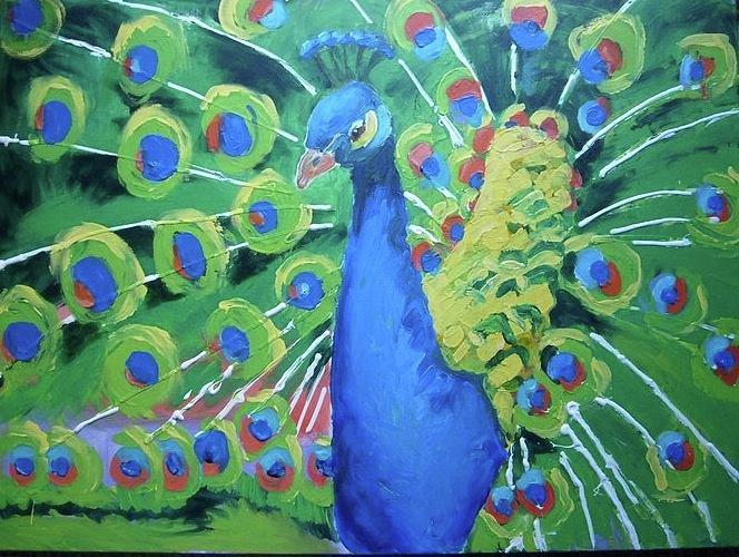 Peacock Painting - Peacock by Sarah LaRose Kane