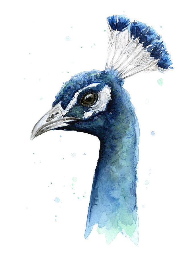 Peacock Painting - Peacock Watercolor by Olga Shvartsur