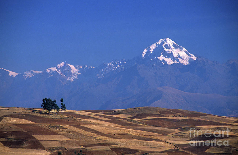 Peru Photograph - Peaks And Fields Near Cusco Peru by James Brunker