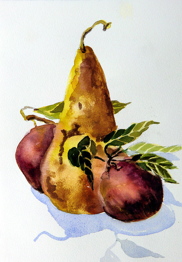 Fruit Painting - Pear And Apples by Mindy Newman