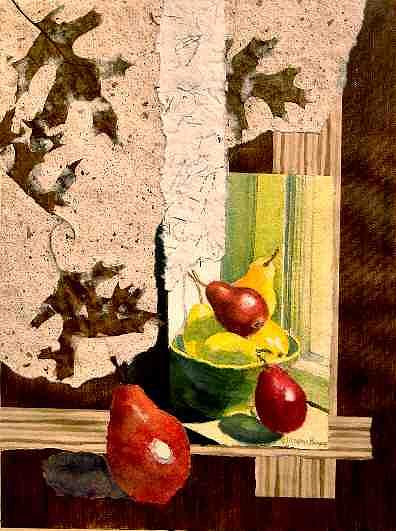 Pears Painting - Pear Collage by Naomi Rogers