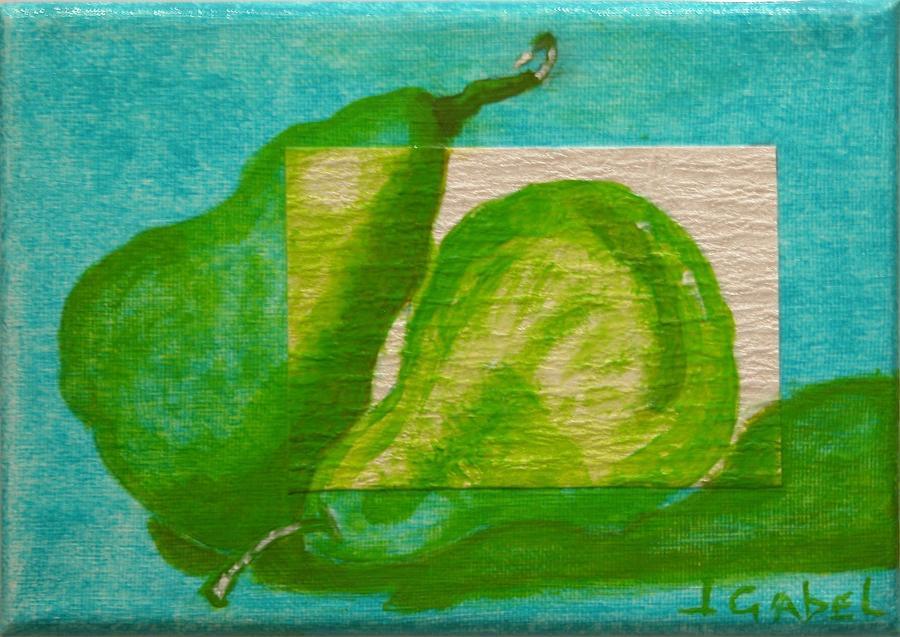 Still Life Painting - Pear Gem 2 by Laura Gabel