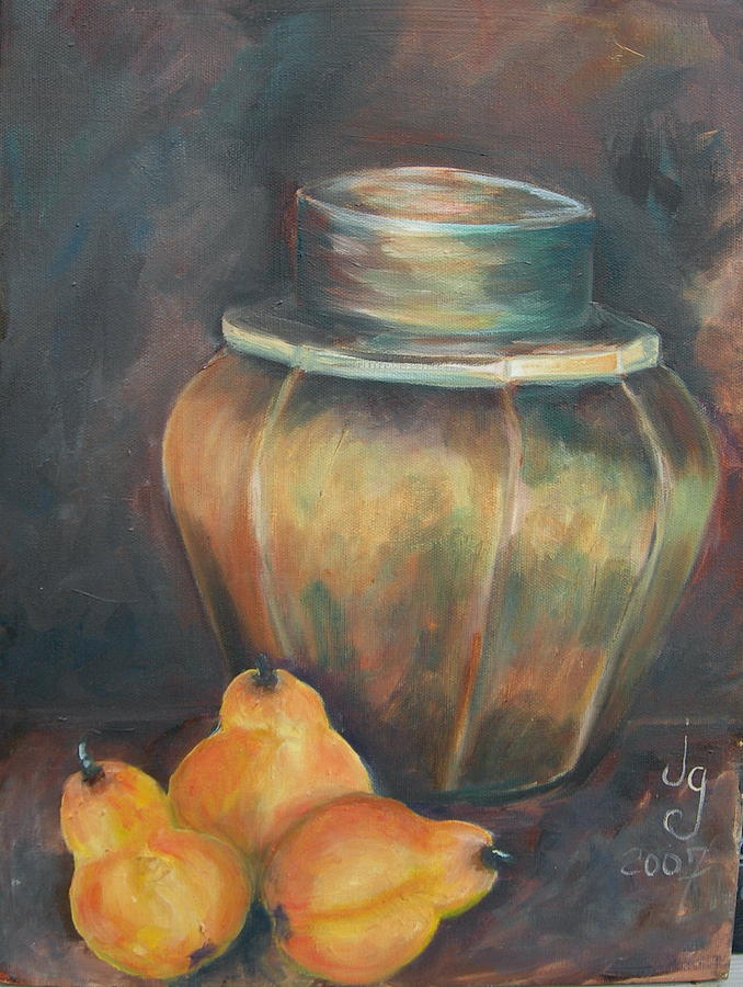 Impressionistic Painting - Pear Jar by Judie Giglio