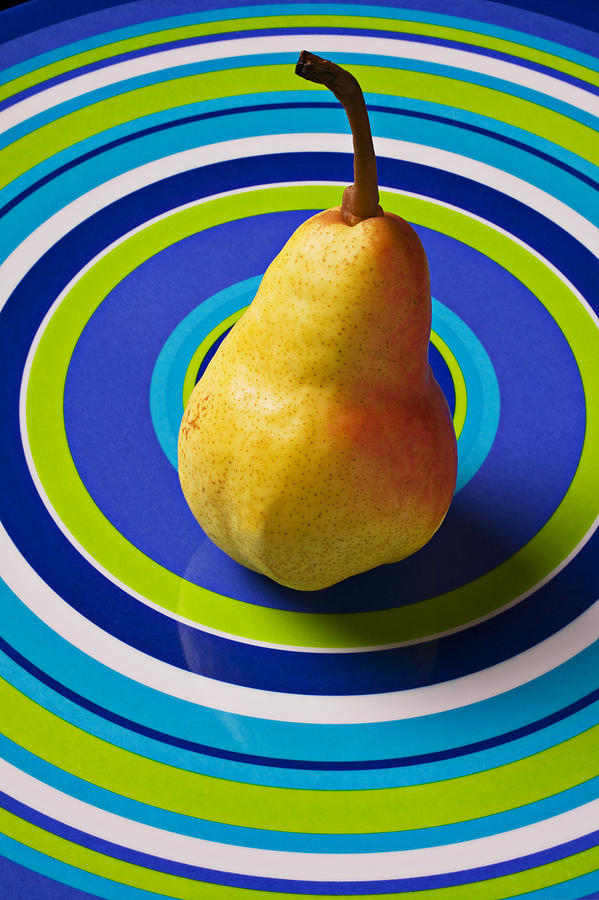Golden Photograph - Pear On Plate With Circles by Garry Gay