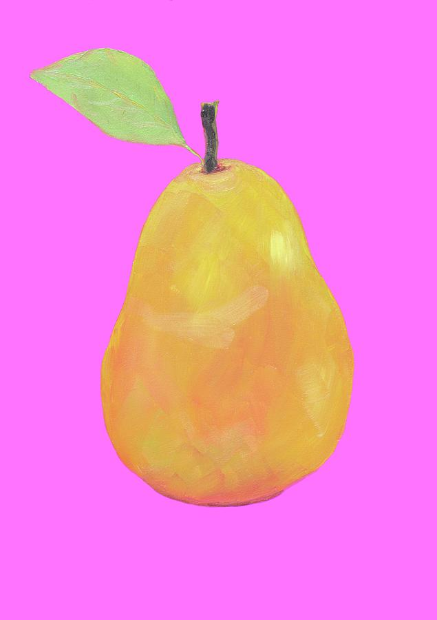 Pear Painting On Pink Background Painting by Jan Matson