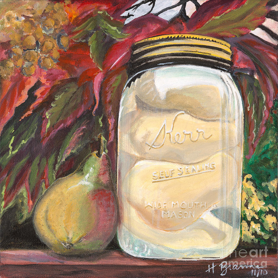 Harvest Prints Painting - Pear Preserves by Holly Bartlett Brannan
