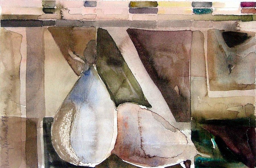 Pear Painting - Pear Study In Watercolor by Mindy Newman