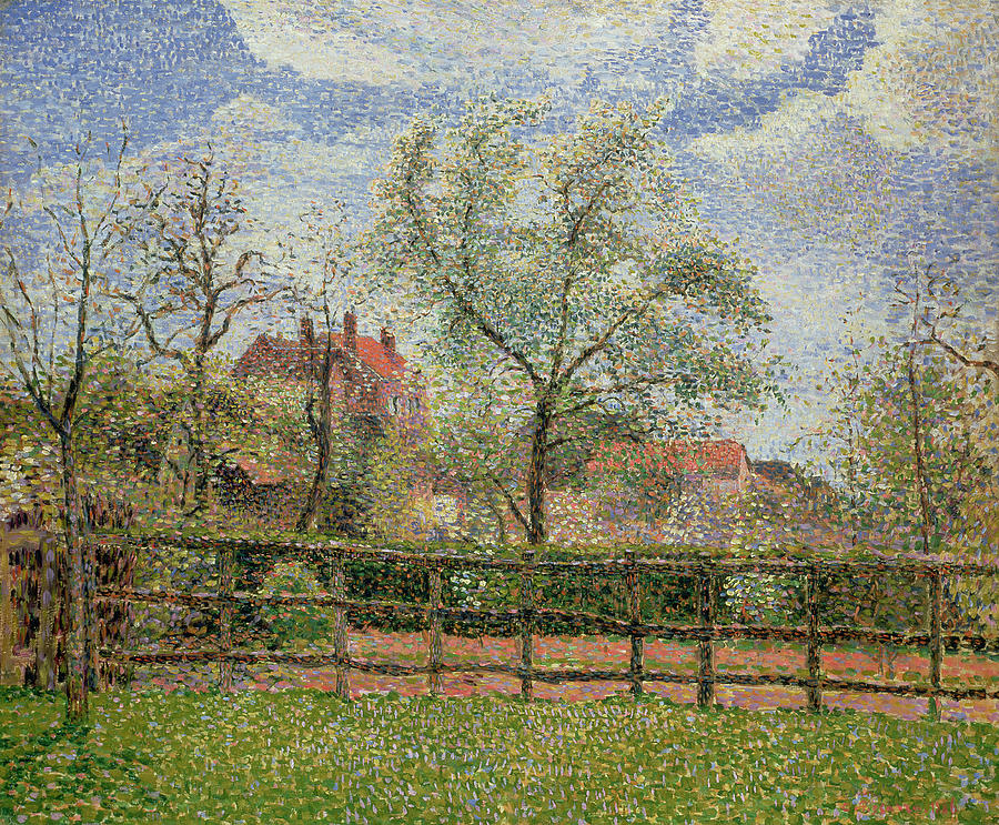 Morning Painting - Pear Trees And Flowers At Eragny by Camille Pissarro
