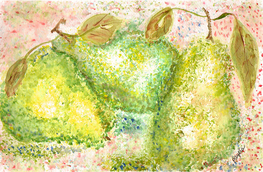Watercolor Painting - Pear Trio by Paula Ayers