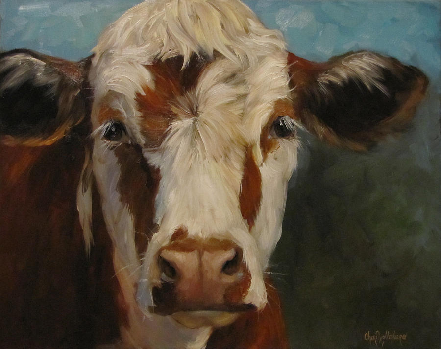 Cow Painting - Pearl by Cheri Wollenberg