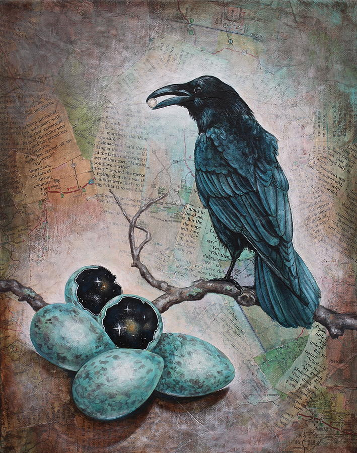 Raven Mixed Media - Pearl Of Wisdom by Sheri Howe