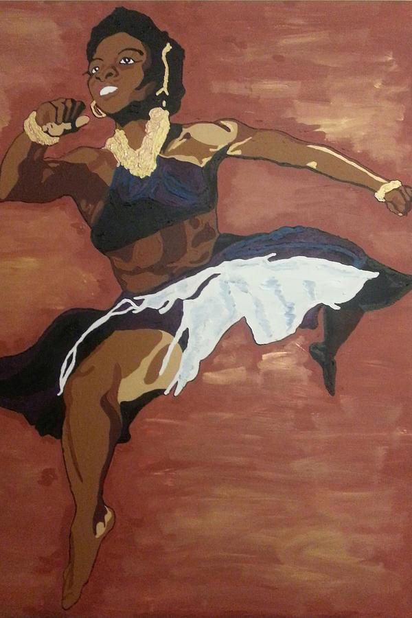Black Painting - Pearl Primus by Rachel Natalie Rawlins