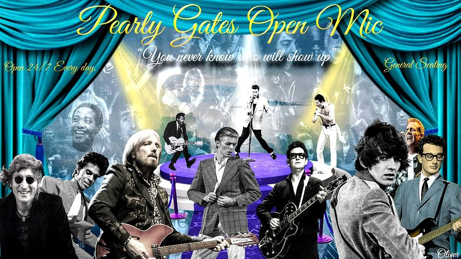 Pearly Gates Open Mic  Mixed Media by Bill Oliver