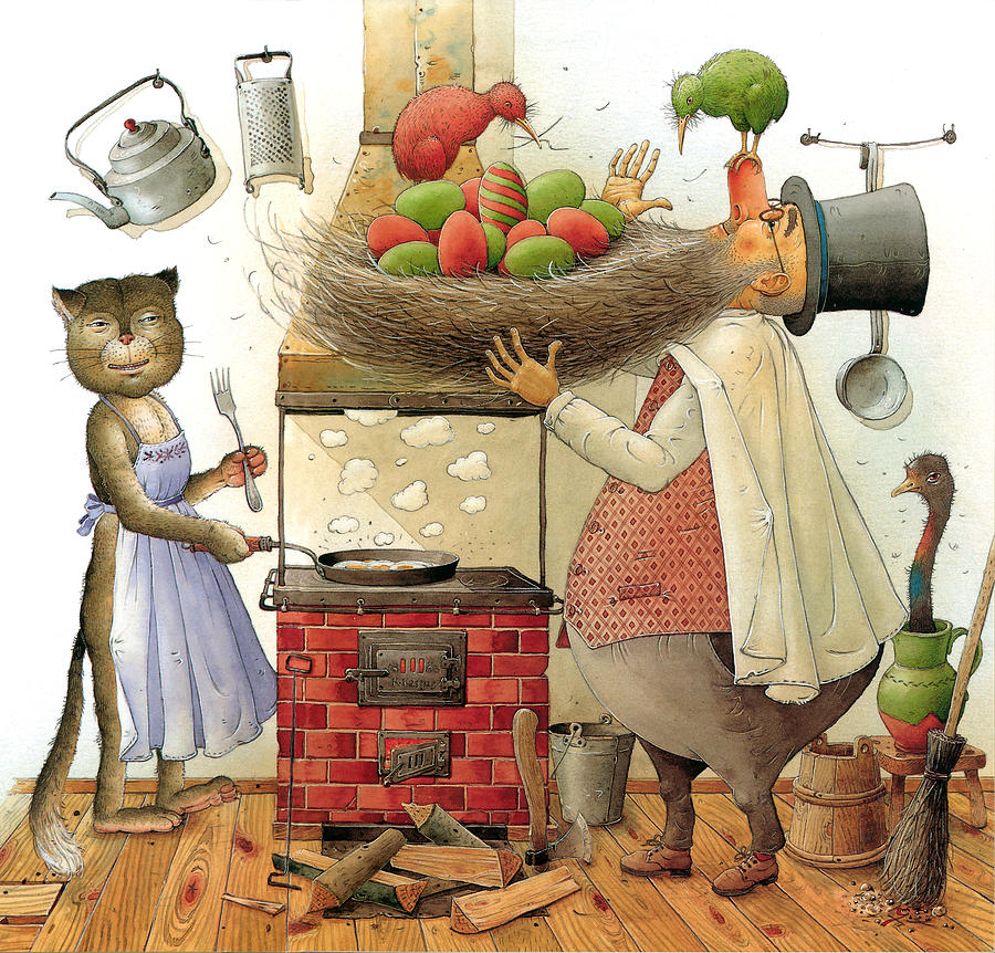 Pearman And Cat Painting by Kestutis Kasparavicius