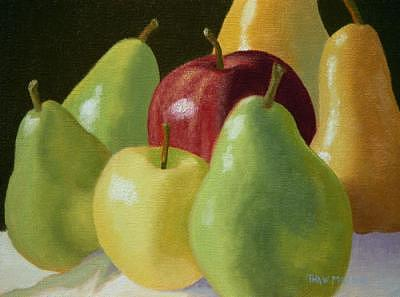 Fruit Painting - Pears And Apples by Thaw Malin III