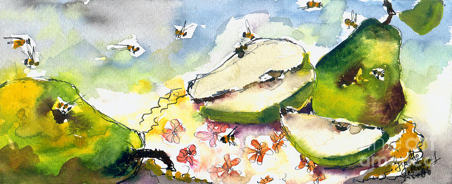 Pears And Bees  Painting by Ginette Callaway