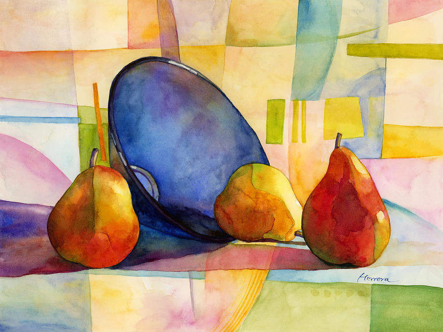 Pears And Blue Bowl Painting