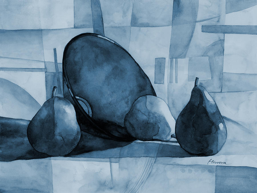 Pears And Blue Bowl On Blue Painting