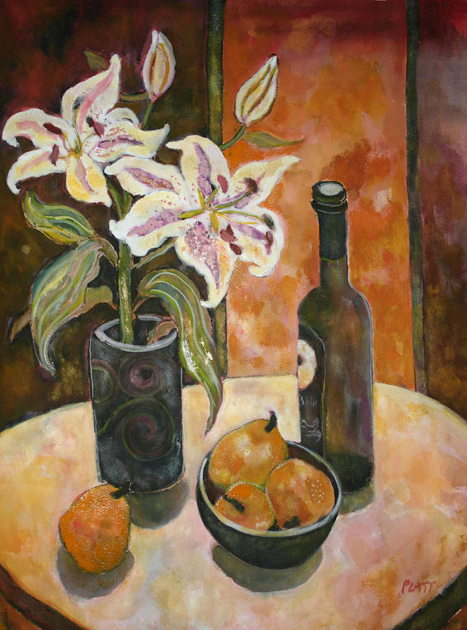 Still Life Painting - Pears And Wine by Lorraine Platt
