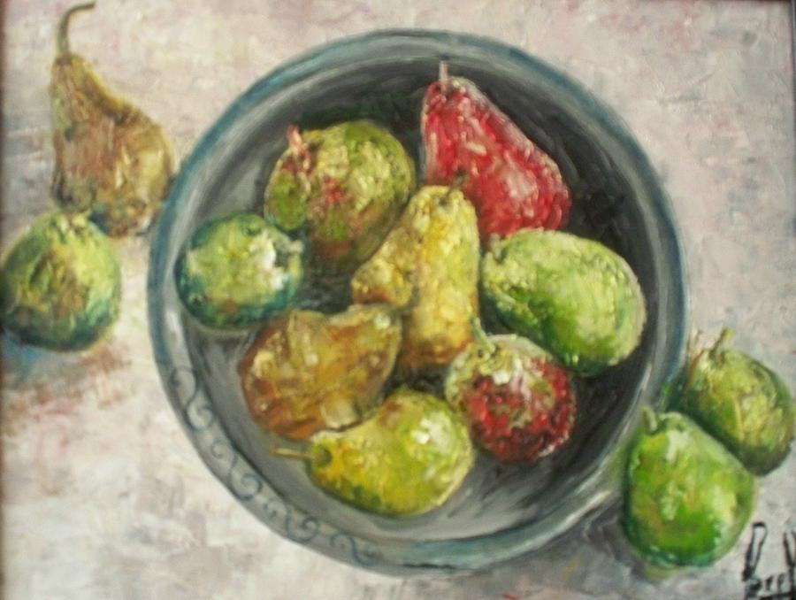 Pears in bowl Painting by Carol P Kingsley