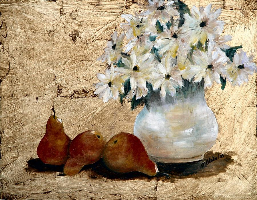 Fruit Painting - Pears On Gold by Merle Blair