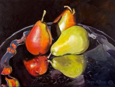 Still Life Painting - Pears On Silver Tray -- Sold by Jayne Rose