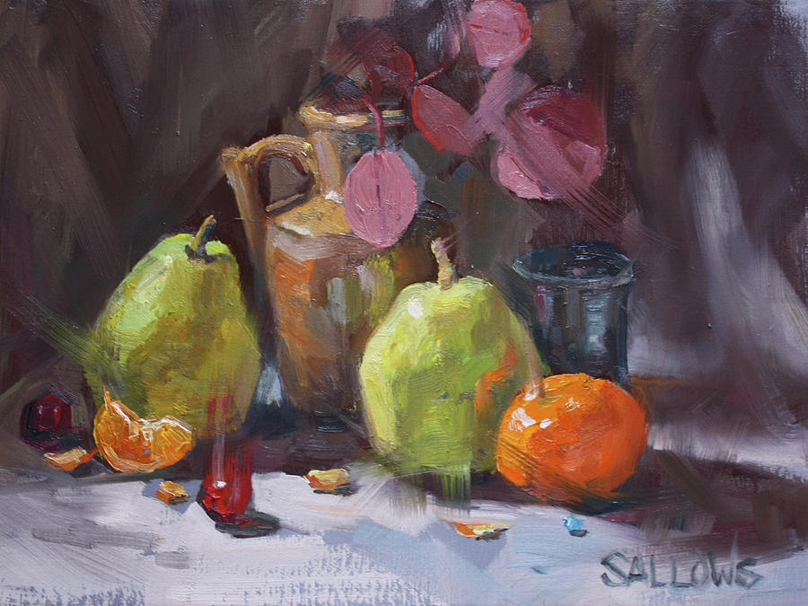 Eucalyptus Painting - Pears With Eucalyptus by Nora Sallows