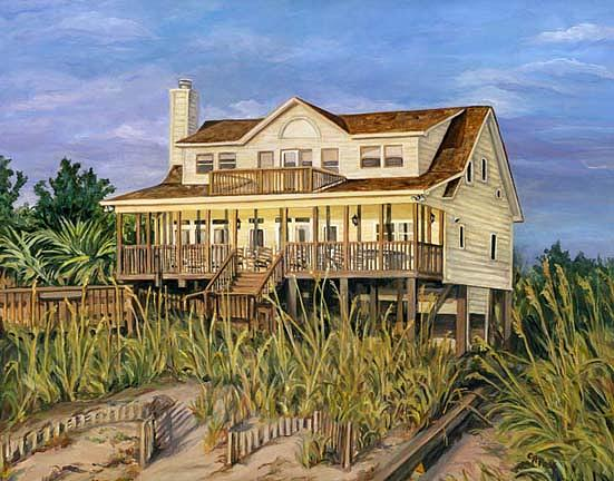 Landscape Painting - Pearsons Beach House by Cheryl Pass