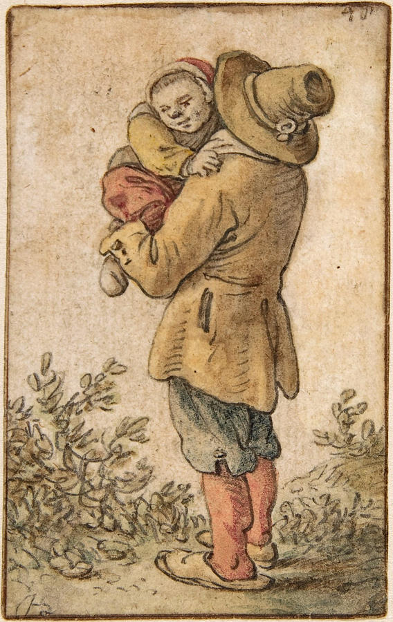 Herman Saftleven Drawing - Peasant With Child by Herman Saftleven