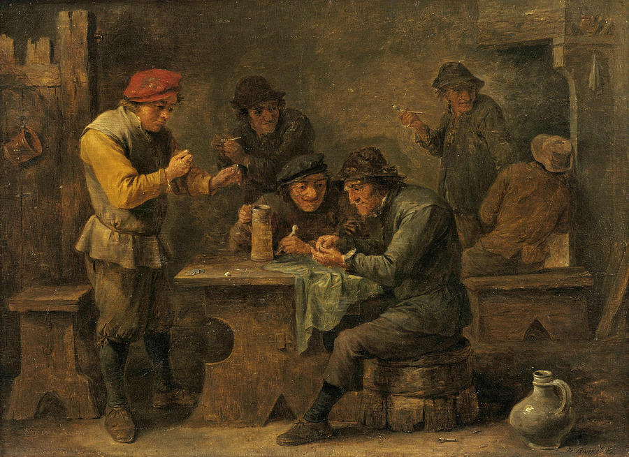 Flemish Painters Painting - Peasants Playing Dice by David Teniers the Younger