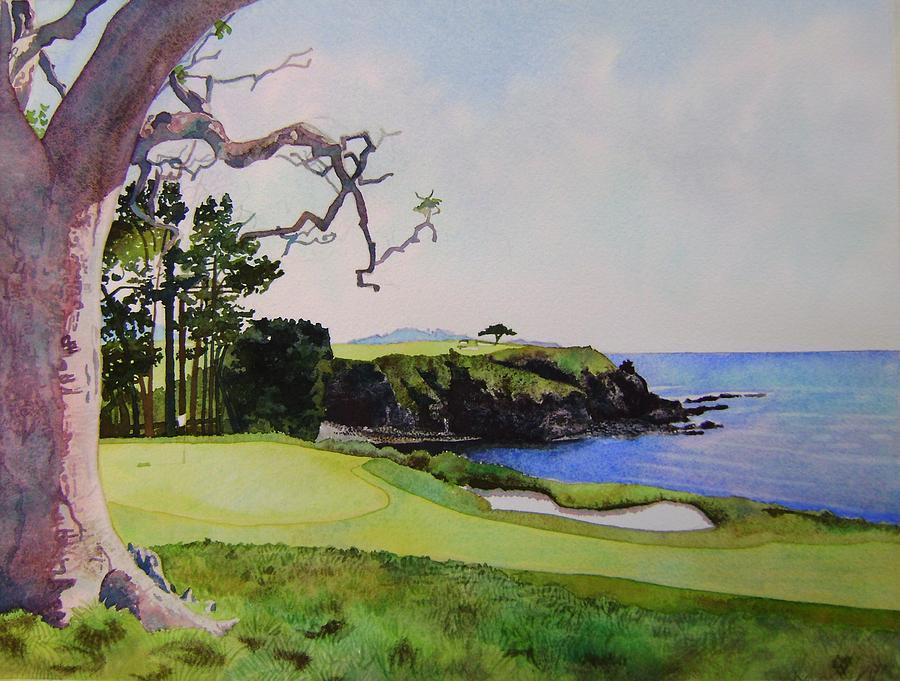 Landscape Painting - Pebble Beach Gc 5th Hole by Scott Mulholland