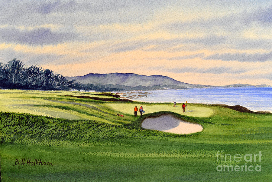Golf Painting - Pebble Beach Golf Course by Bill Holkham