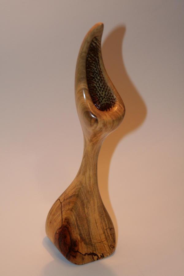 Wood Sculpture - Pecan Flytrap - Carya Dionaea by Shawn Roberts