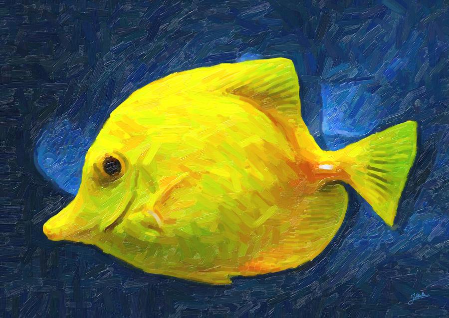 Yellow Painting - Pececillo Amarillo by Joaquin Abella