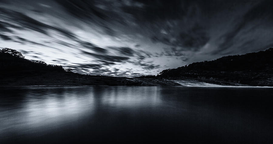 Peddernales Falls Long Exposure Black and White #1 by Micah Goff