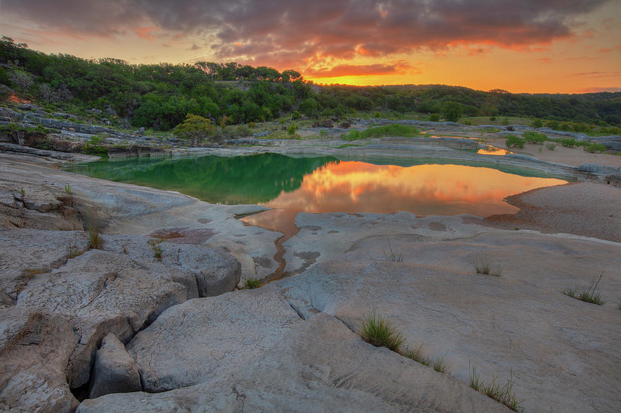 Water Photograph - Pedernales River Sunrise, Texas Hill Country 8257 by Rob Greebon