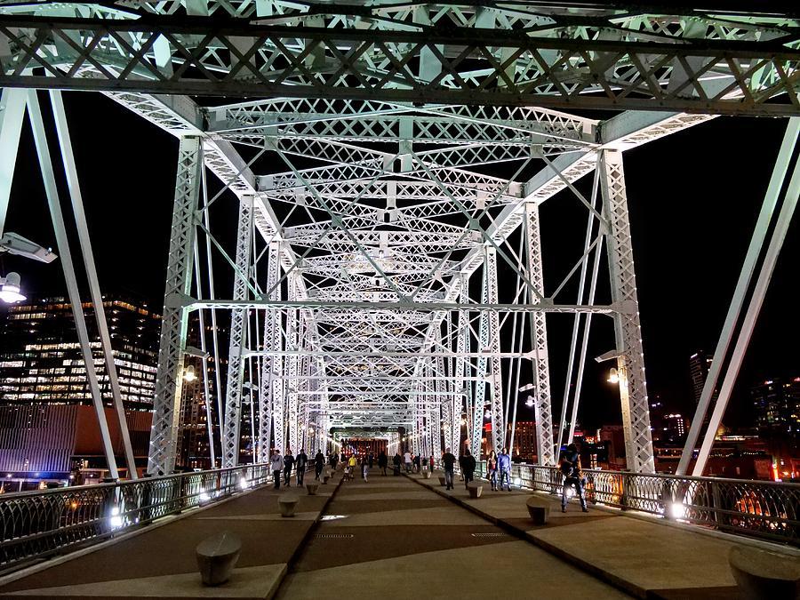 Pedestrian Bridge at Night by JACK RIORDAN