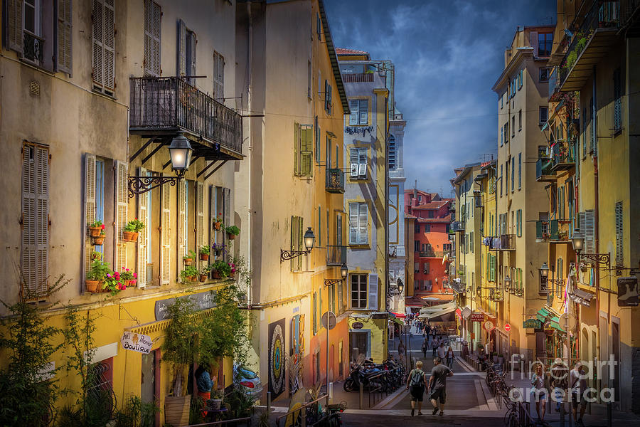 pedestrian street in old town nice france 2 photograph by liesl walsh. Black Bedroom Furniture Sets. Home Design Ideas