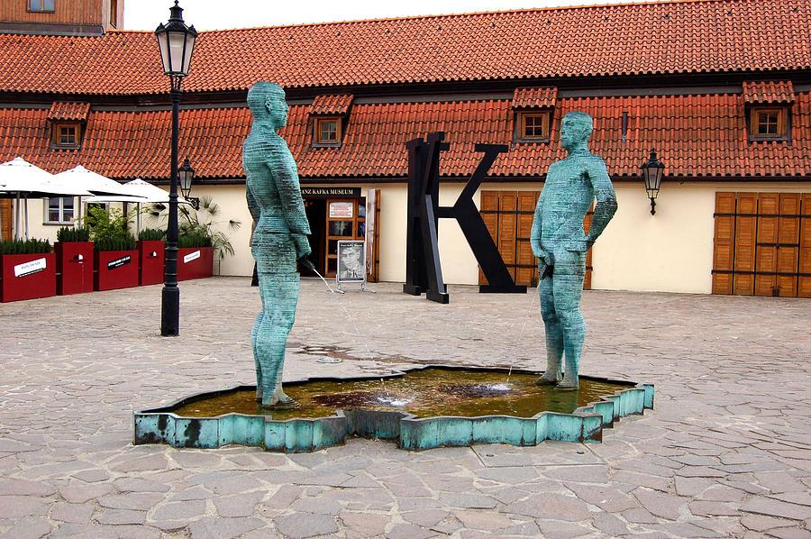 Bronze Photograph - Peeing Men Kafka Museum Prague Czech Republic by Wayne Higgs