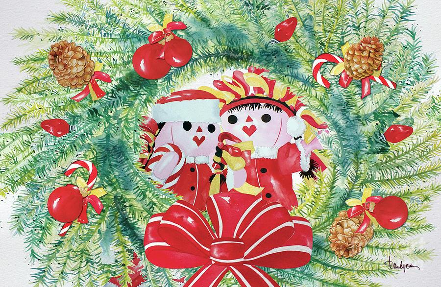 Christmas Card Painting - Peek-a-boo Christmas by Kandyce Waltensperger