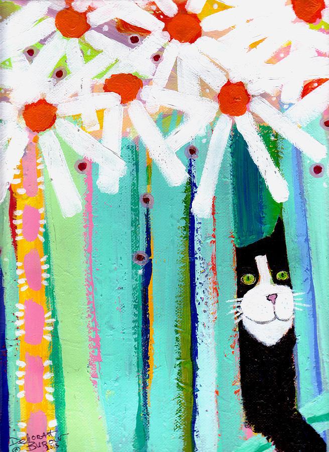 Tuxedo Cat Painting - Peek-a-boo by Deborah Burow