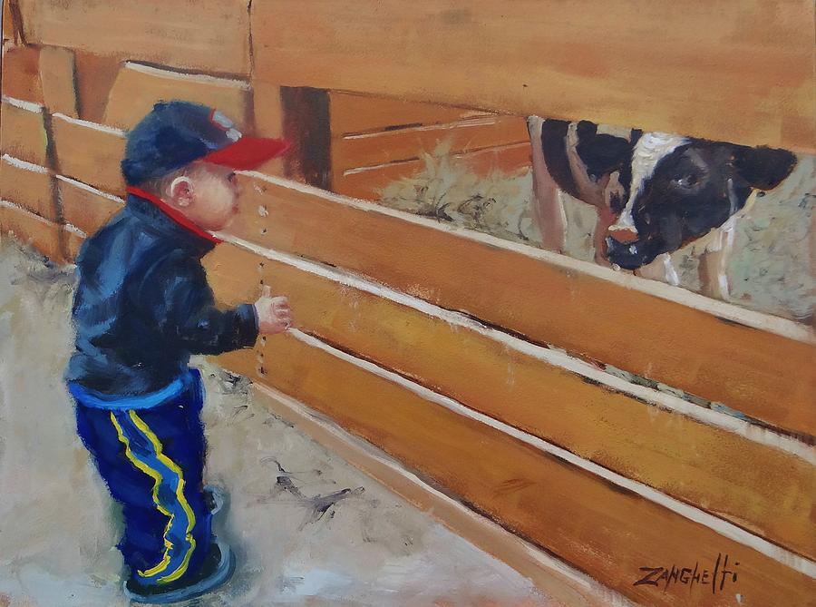 Young Child Painting - Peekaboo by Laura Lee Zanghetti