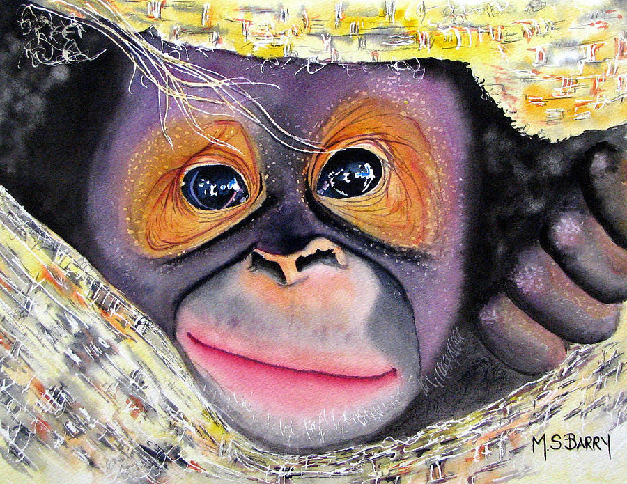 Baby Orangutan Painting - Peek A Boo by Maria Barry
