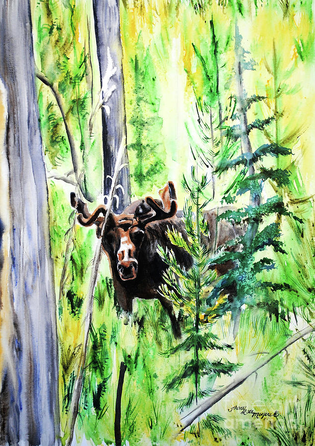Moose Painting - Peek A Boo Moose by Tracy Rose Moyers