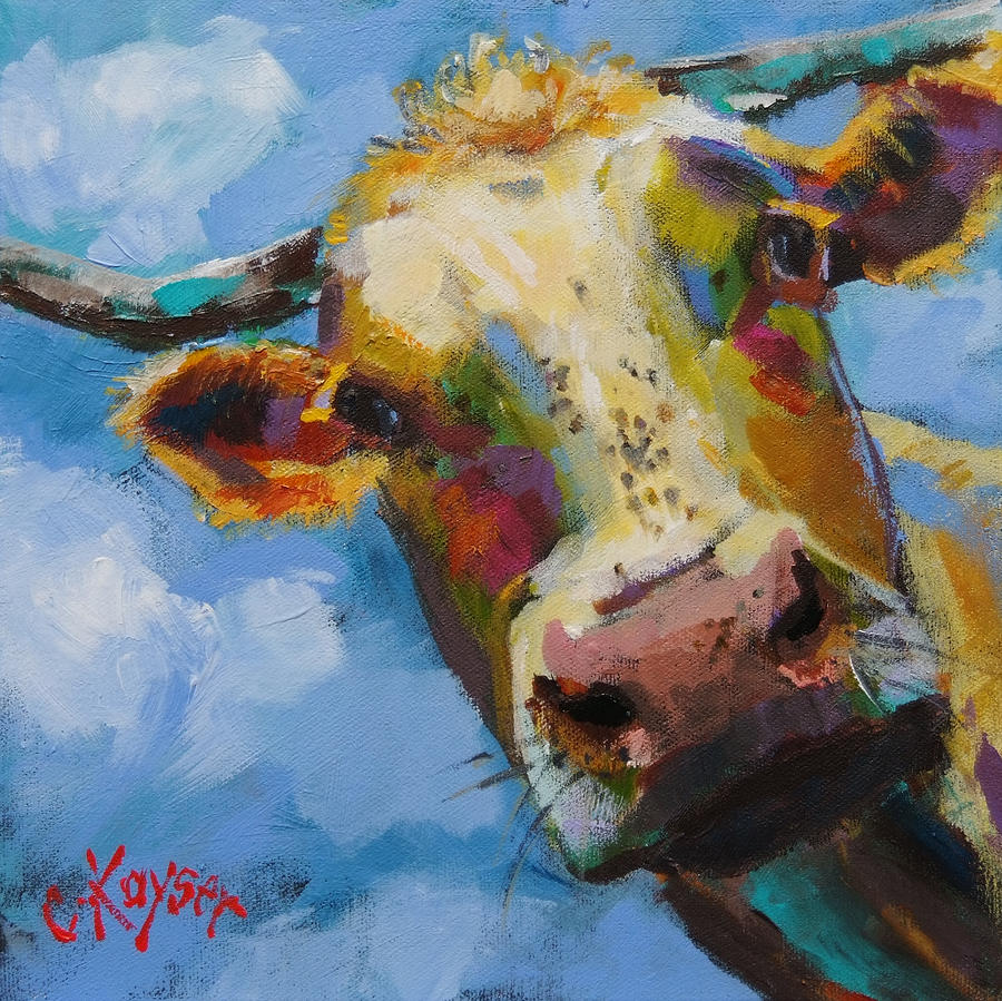 Cow Painting - Peek A Moo by Claire Kayser