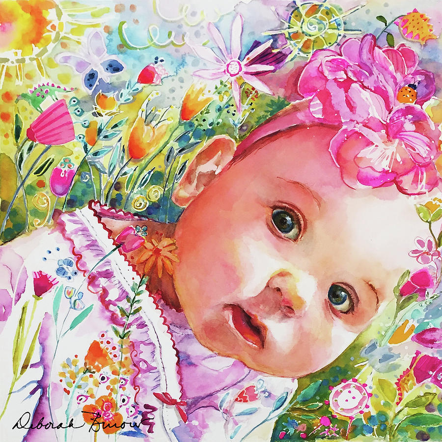Baby Painting - Peeking round The Corner by Deborah Burow