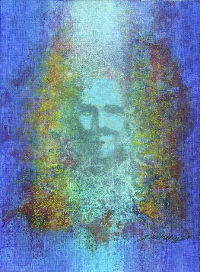 Spontaneous Painting - Peeking thru Maya 2 in Blue by J W Kelly